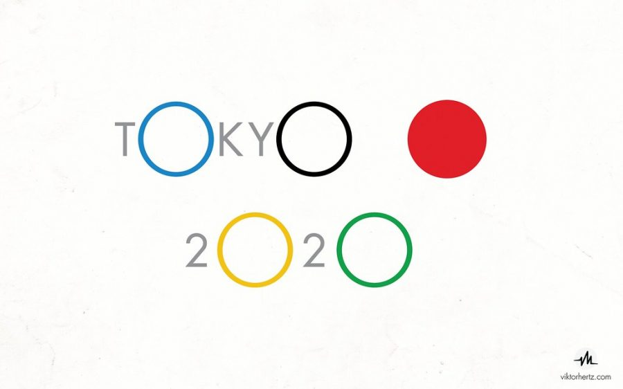 This creative logo features the five Olympic rings, the red one being the red dot in the Japanese flag.