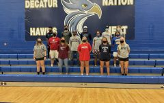 All the athletes together after signing.