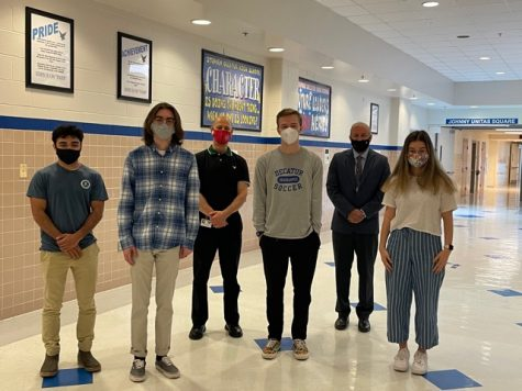 Pictured from left to right: Ian Ramnarain, Owen McAdams, Business Chairman Kurt Marx, Zach Powers, Principal Thomas Sites, and Elizabeth Pivec.