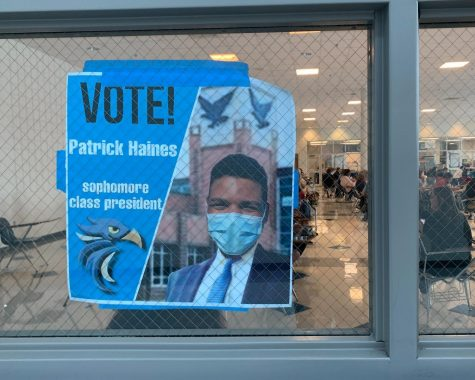 Sophomore Patrick Haines campaigns to become president of the Sophomore class.