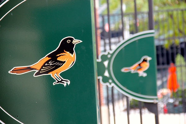 The gates of Oriole Park at Camden Yards, home of the Baltimore Orioles.